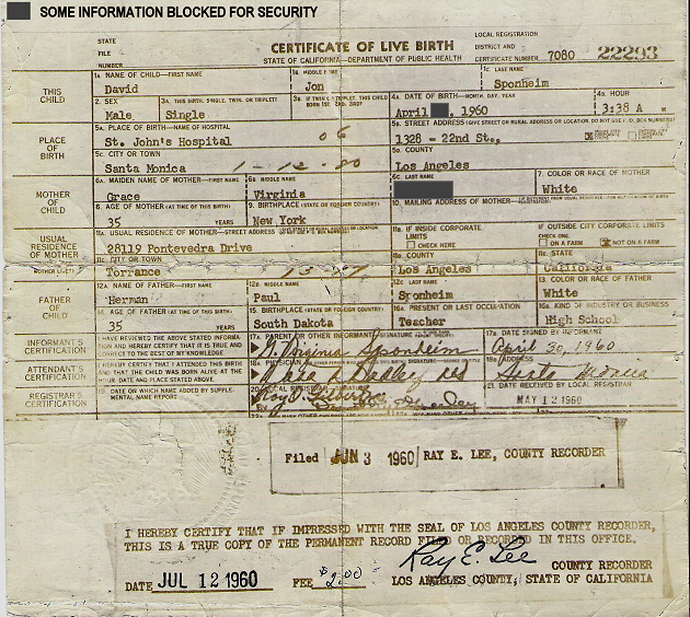 David Jon Sponheim's Birth Certificate